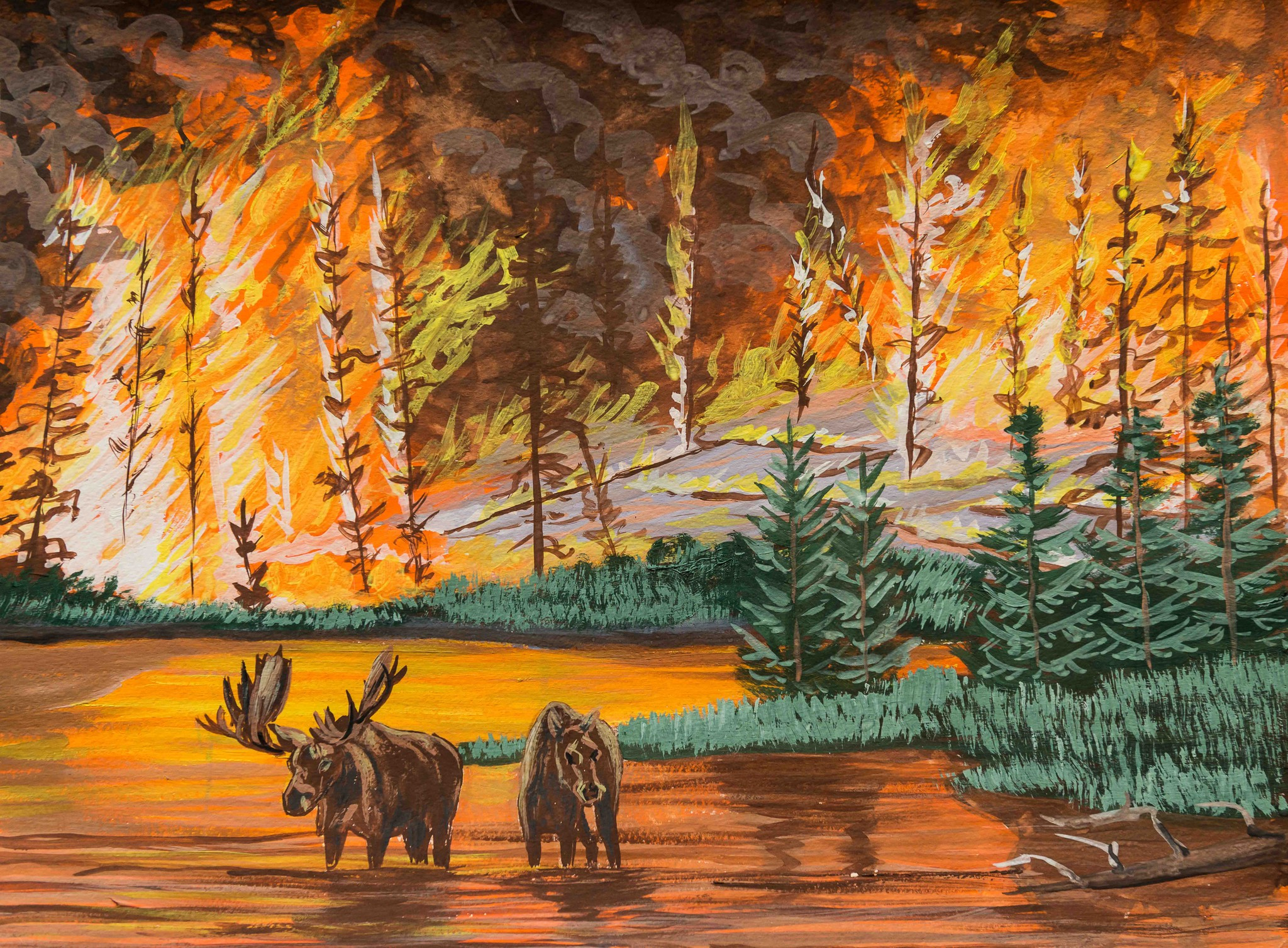 лесной пожар рисунок гуашью что